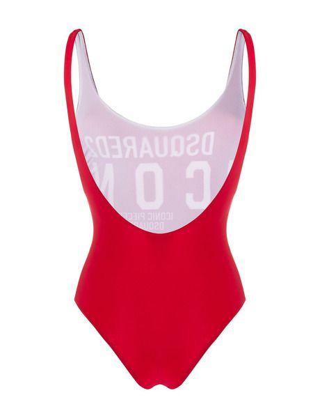 Слитный красный купальник с логотипом