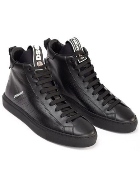 Черные высокие кроссовки с перфорацией