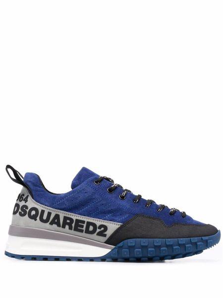Синие кроссовки на шнуровке Dsquared2 фото