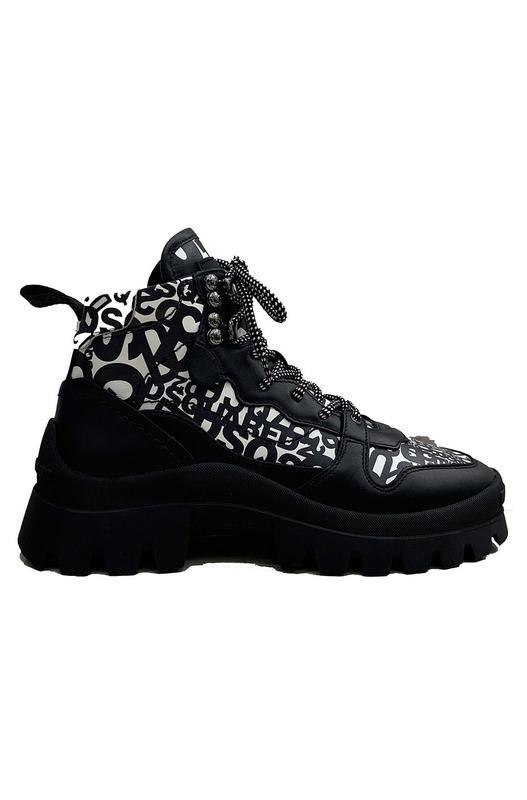 Черно-белые ботинки на массивной подошве Dsquared2, фото