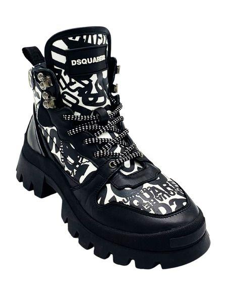 Черно-белые ботинки на массивной подошве