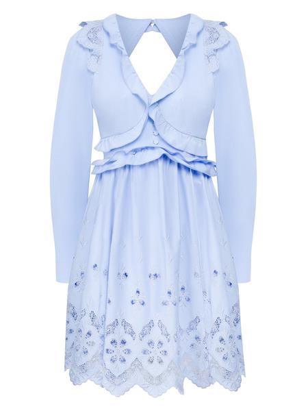 Голубое хлопковое платье-мини с открытой спиной Self-Portrait, фото