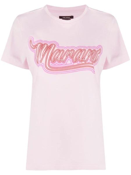 Футболка с логотипом розового цвета Isabel Marant, фото