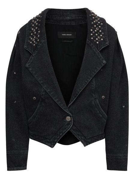 Черная джинсовая куртка с заклепками Isabel Marant фото