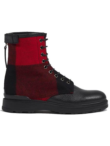 Черно-красные кожаные ботинки Woolrich фото