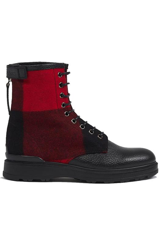 Черно-красные кожаные ботинки Woolrich, фото