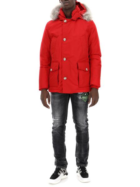 Красный пуховик из хлопка на пуговицах Woolrich, фото