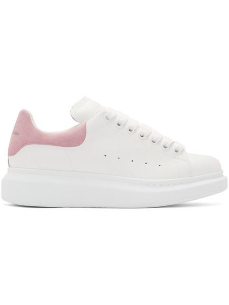 Белые кроссовки с розовым задником на массивной подошве Alexander McQueen, фото