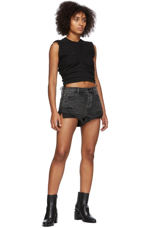 Черные короткие джинсовые шорты Hike Alexander Wang