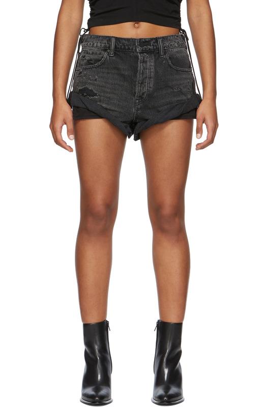 Черные короткие джинсовые шорты Hike Alexander Wang, фото
