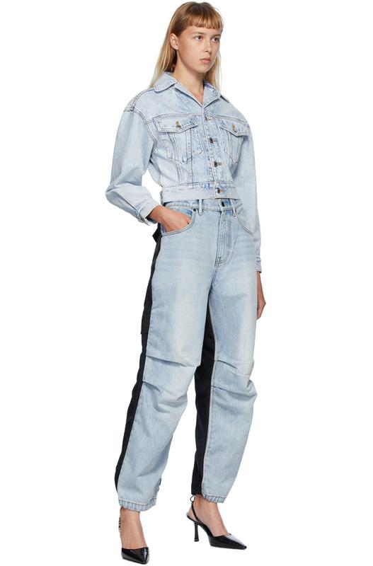 Синие с черным гибридные джинсы карго Alexander Wang, фото