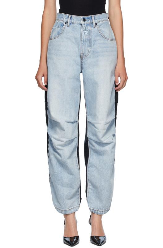 Синие с черным гибридные джинсы карго Alexander Wang