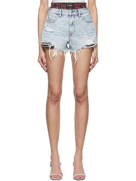 Синие короткие джинсовые шорты Alexander Wang фото