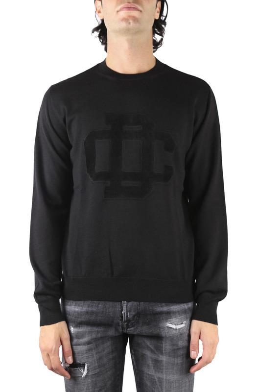 Черный свитшот из шерсти с логотипом Dsquared2, фото
