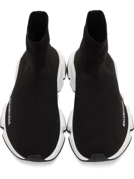 Черные с белой подошвой Balenciaga Speed Trainer