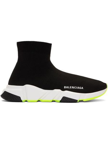 Черные кроссовки с неоновой подошвой Speed Balenciaga, фото