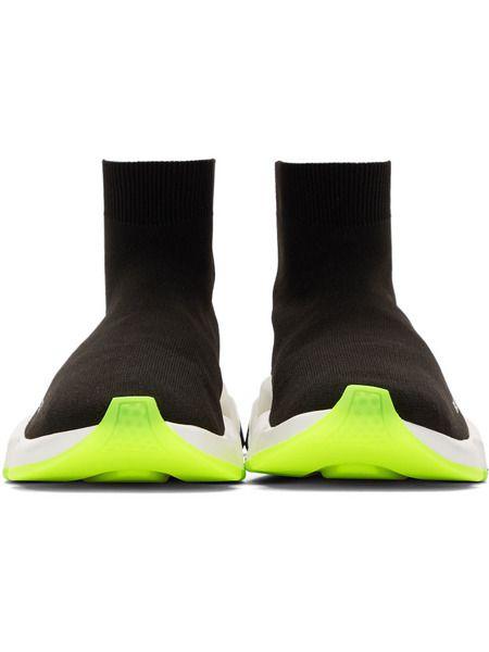 Черные кроссовки с неоновой подошвой Speed