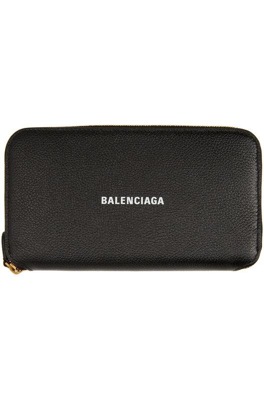 Черный кошелек с логотипом Balenciaga на молнии Balenciaga, фото
