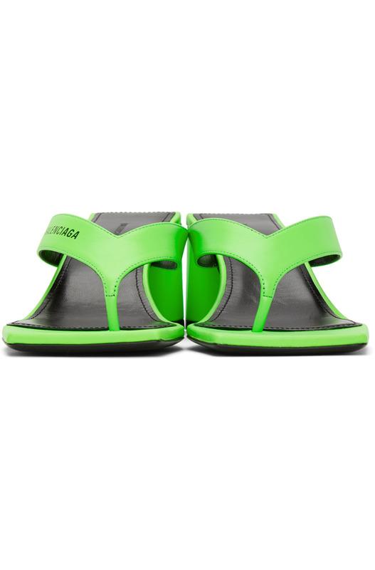 Зеленые босоножки с квадратным носком Balenciaga
