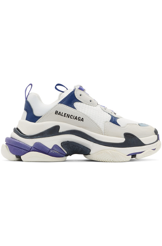Белые с синим кроссовки Balenciaga Triple S Balenciaga