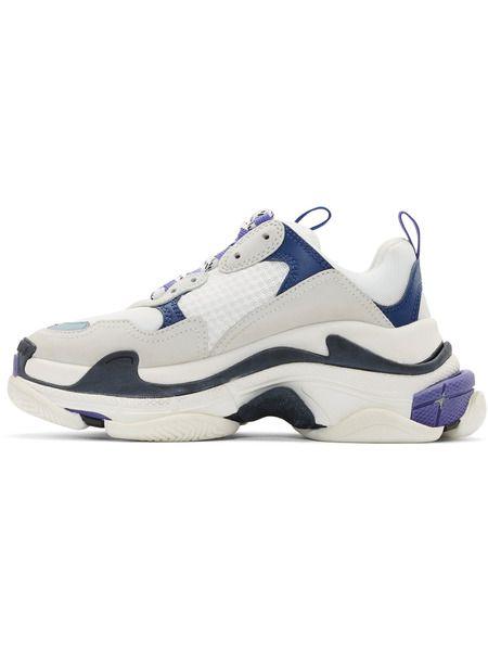 Белые с синим кроссовки Balenciaga Triple S