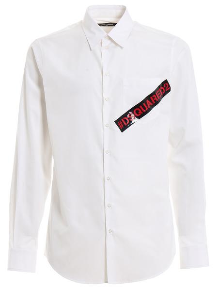 Белая рубашка с контрастным логотипом Dsquared2, фото