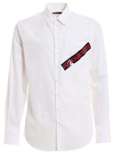 Белая рубашка с контрастным логотипом Dsquared2 фото