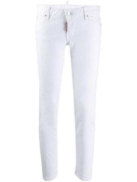 Белые укороченные джинсы слим Dsquared2 фото