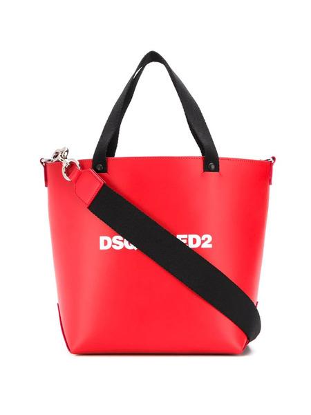 Большая красная сумка-тоут с логотипом Dsquared2, фото