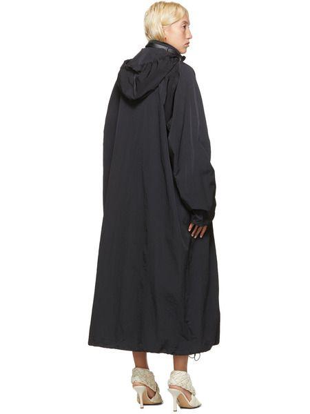 Черное нейлоновое длинное пальто