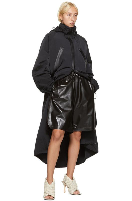 Черное нейлоновое длинное пальто Bottega Veneta
