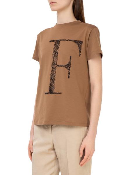 Коричневая футболка с лого Fabiana Filippi, фото