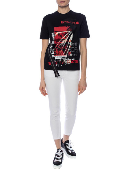 Черная футболка с декором-молнией Dsquared2, фото
