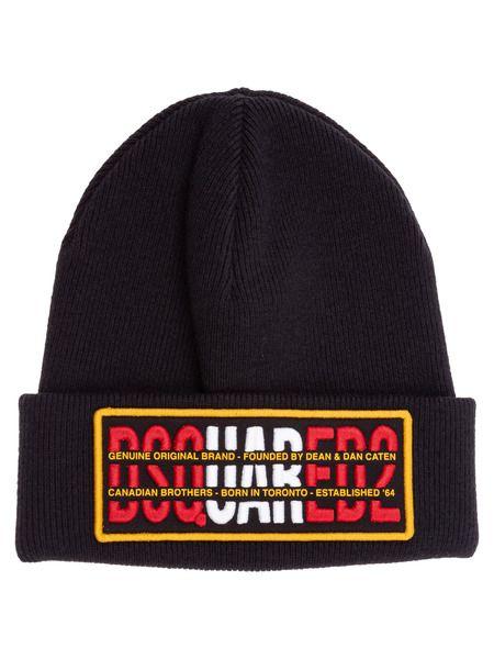 Черная шапка с нашивкой логотипа Dsquared2 фото