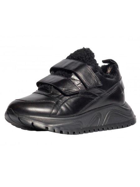 Черные кожаные зимние кроссовки