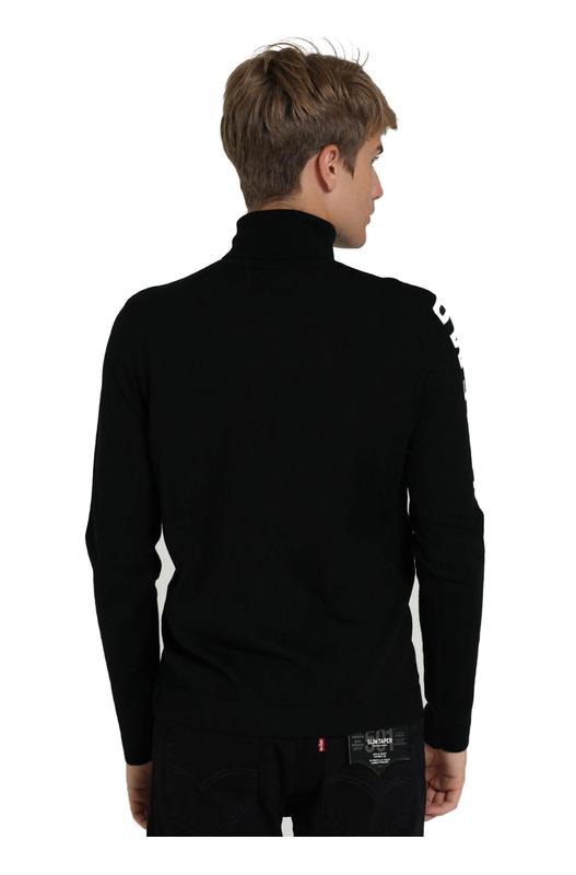 Черный трикотажный гольф с надписью на рукаве Bikkembergs, фото