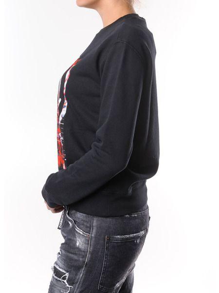 Черный свитшот с цветным принтом