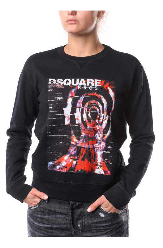 Черный свитшот с цветным принтом Dsquared2, фото