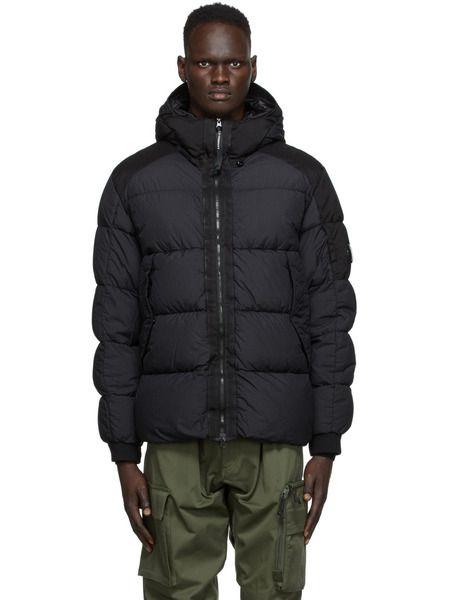 Черная нейлоновая куртка с капюшоном на пуху C.P. Company, фото