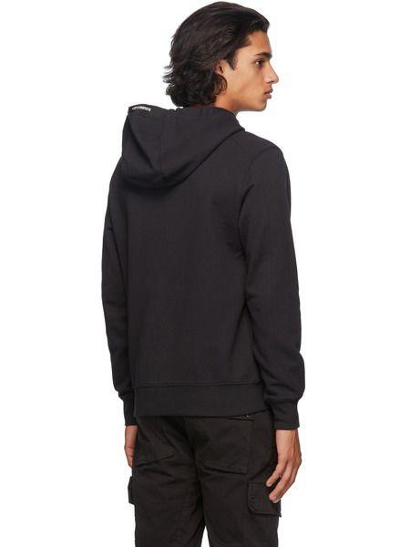 Черное худи с карманом на рукаве