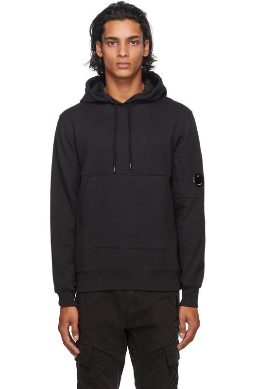 Черное худи с карманом на рукаве C.P. Company, фото
