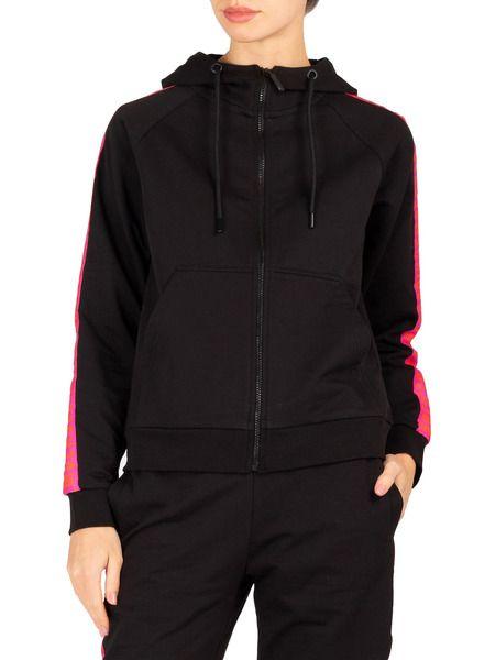 Черный спортивный костюм с розовыми лампасами