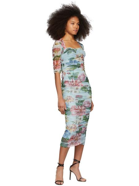 Синее длинное платье с цветочным принтом Dolce & Gabbana, фото
