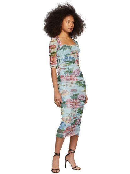 Синее длинное платье с цветочным принтом