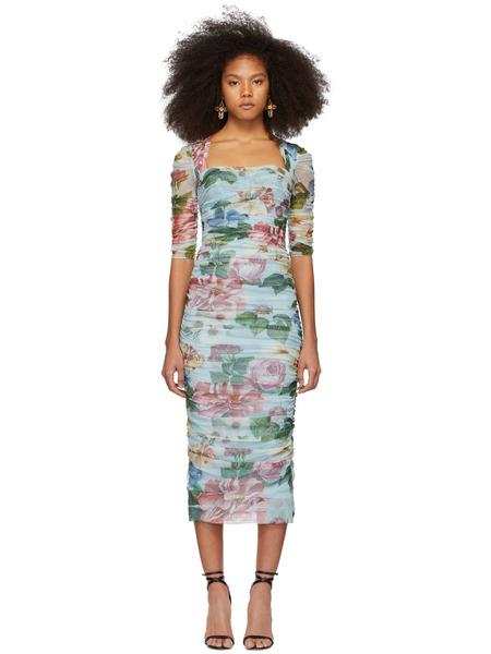Синее длинное платье с цветочным принтом Dolce & Gabbana фото