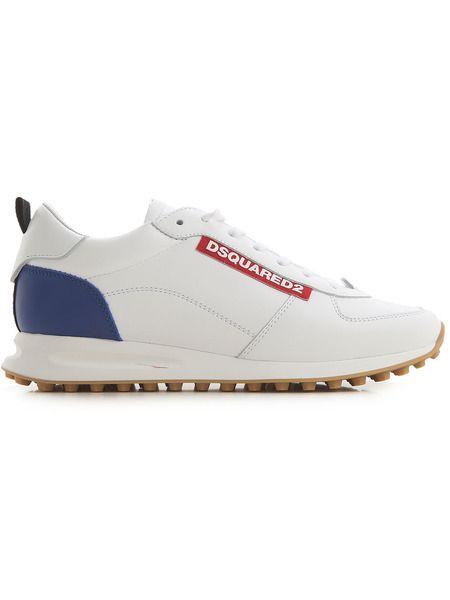 Кожаные кроссовки с логотипом Dsquared2 фото