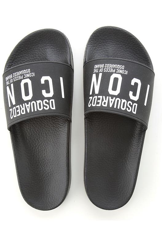 Черные шлепанцы с надписями и логотипом Dsquared2, фото