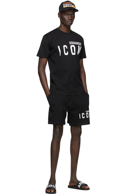 Черная футболка Icon с брендовым принтом Dsquared2, фото