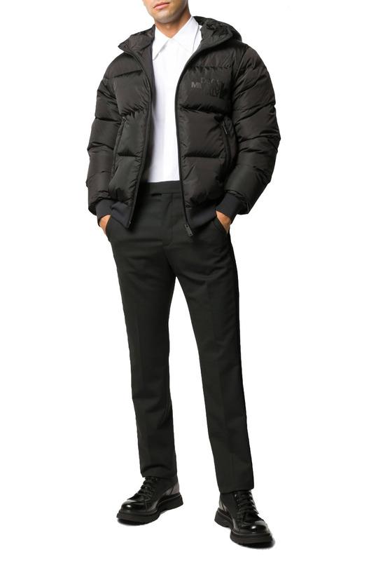 Черный стеганный пуховик с капюшоном Dsquared2, фото