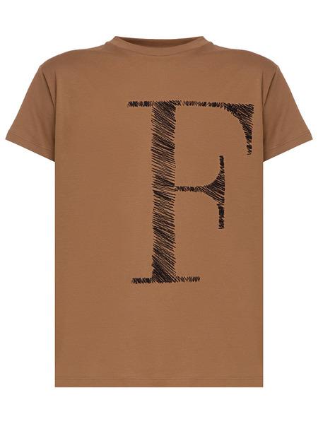 Коричневая футболка с лого Fabiana Filippi фото
